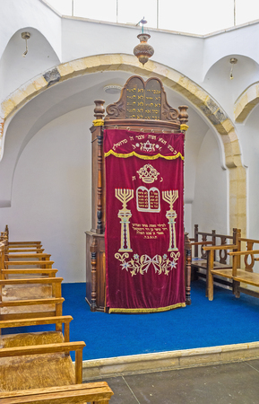 sephardic: JERUSALEM, ISRAEL - FEBRUARY 18, 2016: The wooden Ark in Emtsai Synagogue (Middle Synagogue)  of Four Sephardic Synagogues complex, on February 18 in Jerusalem.