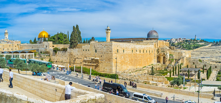 dome of the rock: JERUSALEM, ISRAEL - FEBRUARY 18, 2016: The view on the Southern Wall of the Temple Mount architectural ensemble with the cupolas of Al-Aqsa Mosque and Dome of the Rock, on February 18 in Jerusalem.