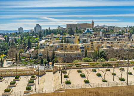 yafo: The view from the old city ramparts on the Mamilla road and Davids Village (Kfar David) neighborhood, Jerusalem, Israel. Editorial