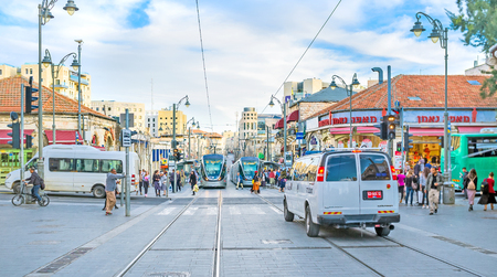 yafo: JERUSALEM, ISRAEL - FEBRUARY 18, 2016: The Yafo Road is one of the main city streets, connecting Central Bus Station with the old city, on February 18 in Jerusalem. Editorial