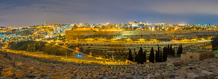 jewish houses: The evening panorama of Jerusalem from the old cemetery on the Mount of Olives, Israel. Stock Photo