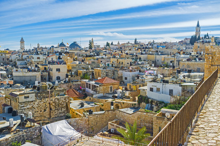 sepulcher: The massive ramparts are the best place for the midday walks, enjoying the views, Jerusalem, Israel. Stock Photo
