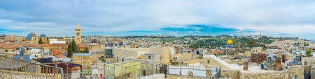 dome of the rock: Panorama covers the wide view from the dome of the Holy Sepulchre Church to the golden cupola of the Dome of the Rock and the Mount of Olives, Jerusalem, Israel.