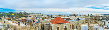 synagogues: Panoramic view of the old city with the stone domes of the Synagogues and the golden cupola of the Dome of the Rock, Jerusalem, Israel. Stock Photo