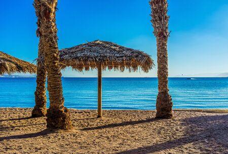 eilat: The cozy Northern Beach in Eilat resort, Israel.