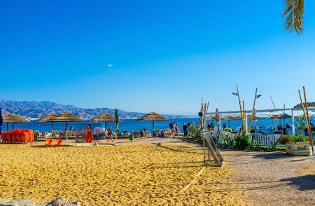 eilat: EILAT, ISRAEL - FEBRUARY 23, 2016: The sport zones are the necessary attribute of beaches in Eilat, on February 23 in Eilat.