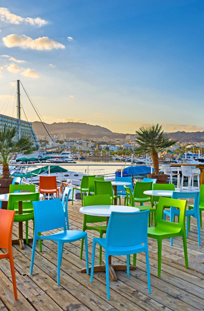 The fine outdoor cafes in Lagoona of Eilat boast the local sea food and best views in resort, Israel.