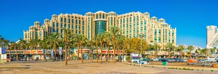eilat: EILAT, ISRAEL - FEBRUARY 23, 2016: The center of the luxury Israeli resort is occupied by the modern hotel complexes and shopping centers,  on February 23 in Eilat. Editorial