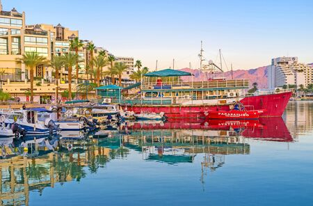 romantic places: EILAT, ISRAEL - FEBRUARY 23, 2016: The scenic views of the port make it one of the most romantic places in resort, on February 23 in Eilat. Editorial