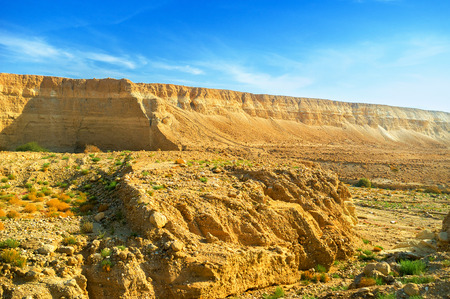 masiv: The unique landscape of Negev desert with the steep rocky slopes, Israel.
