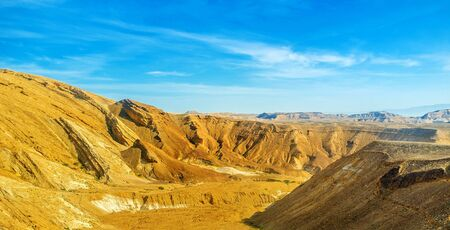 The bright yellow rocks of the Negev desert, Israel. Stock Photo