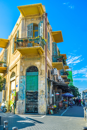 corner of house: TEL AVIV, ISRAEL - FEBBRUARY 25, 2016: The narrow corner house in the flea market of Jaffa, on February 25 in  Tel Aviv. Editorial