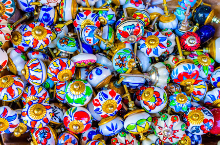 yafo: The handmade porcelain handles with the floral patterns are the best souvenirs from Jaffa flea market, Tel Aviv, Israel.