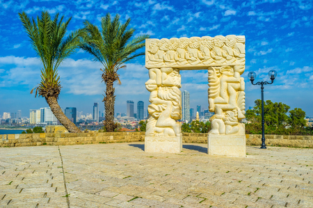 promised: TEL AVIV, ISRAEL - FEBBRUARY 25, 2016: The sculpture in park of Abraham Shechterman is the symbol of the gateway to Israel, the Promised Land to the People of Israel, on February 25 in  Tel Aviv.