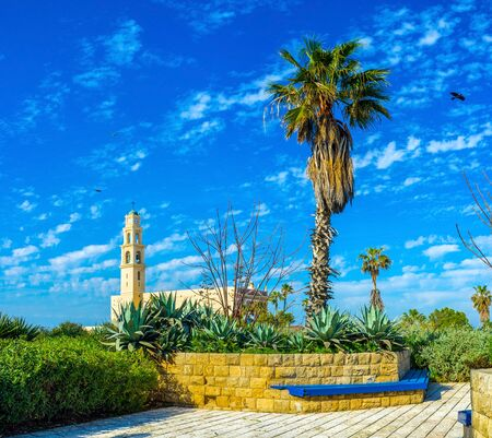 The Abraham Shechterman Garden is one of the highest points in old Jaffa, overlooking its main landmarks, such as St Peter's Church, Tel Aviv, Israel. Фото со стока