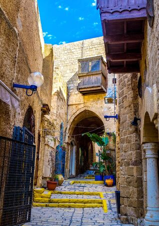yafo: The old stone streets of Jaffa are full of interesting places - museums, galleries, medieval mansions, Tel Aviv, Israel.