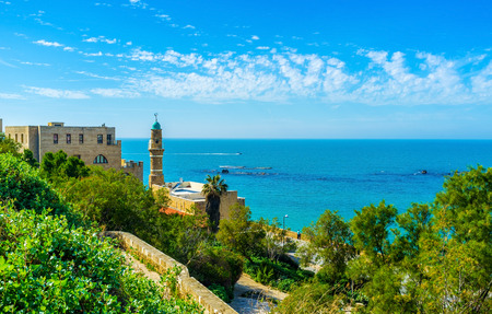 extant: Al-Bahr Mosque (Sea Mosque), is the oldest extant mosque in Jaffa, located right on the shore and surrounded by the lush garden, Tel Avav, Israel. Stock Photo