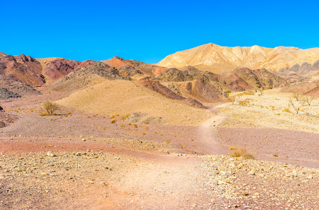 The Eilat mountains are famous for their bright colors and interesting shapes, Israel.
