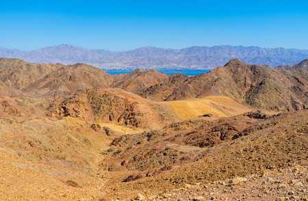 The hiking to Masiv Eilat Nature Reserve is an interesting attraction and valuable experience, Israel. Stock Photo