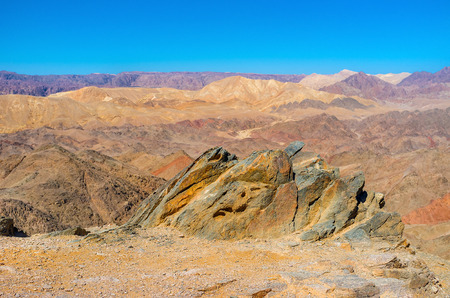 The Masiv Eilat Nature Reserve is the perfect place to visit from Eilat resort and enjoy the beauty of the mountains, Israel. Stock Photo