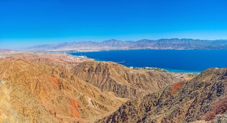 The scenic view on Aqaba Gulf from the peak of Zefahot Mount, Eilat, Israel.