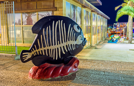 eilat: EILAT, ISRAEL - FEBRUARY 23, 2016: The black fish with painted white skeleton in the city square, on February 23 in Eilat. Editorial