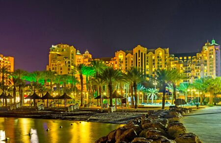 especially: The coastal districts of Eilat are especially beautiful in the evening, Israel. Editorial