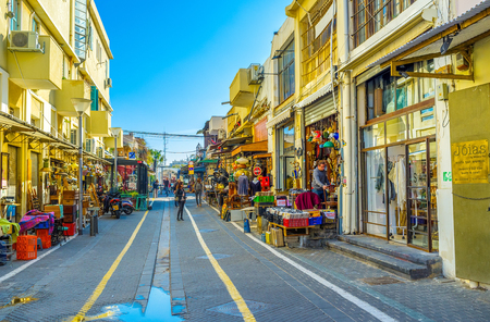 jaffa: TEL AVIV, ISRAEL - FEBRUARY 25, 2016: The flea market neighborhood is the best place to choose unusual souvenirs and interesting gifts from old Jaffa, on February 25 in  Tel Aviv.