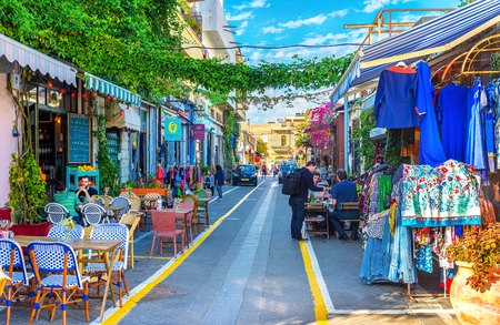 TEL AVIV, ISRAEL - FEBRUARY 25, 2016: The best way to relax after the long walk in the flea market of old Jaffa is to visit the local cafe, on February 25 in  Tel Aviv.