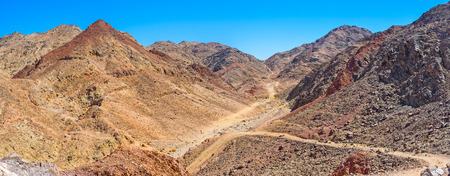There are a lot of tourist pathes in Eilat Mountains, leading to the different peaks and valleys, Israel.