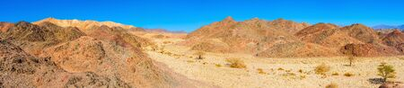 The Negev desert boasts scenic landcapes with varios colors of rocks, Eilat, Israel.