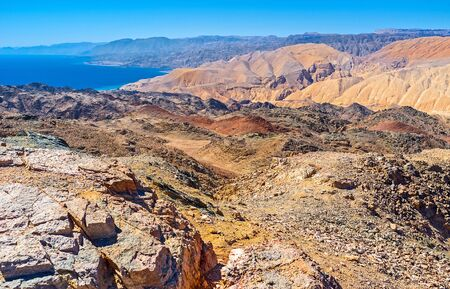 Zefahot Mount is one of the best places to overlook Israel, Egypt, Jordan, Saudi Arabia from one peak, Eilat. Stock Photo