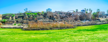 archaeological site: Panorama of the ancient ruins of Caesaria Maritima, Roman city, nowadays the famous archaeological site of Israel.