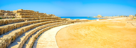hippodrome: The ruins of the hippodrome with the rows of stone sits, located on the seashore of Caesaria National Park, Israel.