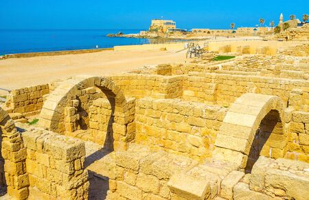 notable: The ruined ancient city of Caesarea Maritima is the notable landmark and mandatory element of the tourist routes, Israel.