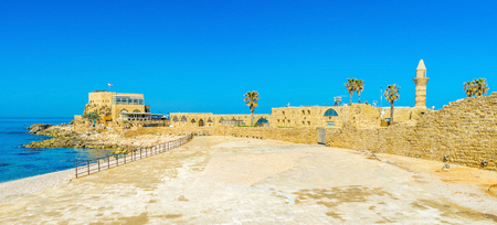 archaeological site: The Mediterranean resort of Caesarea boasts large archaeological site, ful of the ancient Roman artifacts, Israel.