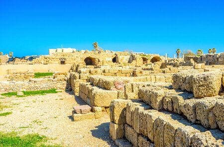 caesarea: The ancient walls of Caesarea archaeological site were built from the local limestone, Israel.