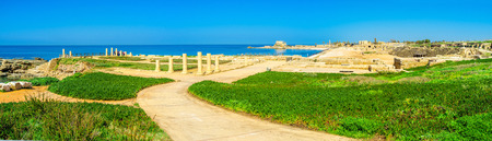 hippodrome: The gentle hill serves as the perfect viewpoint, overlooking the archaeological area of Caesarea, with its hippodrome, port, ruined temple and thermae, Israel.