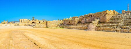 archaeological site: The archaeological site of Caesarea boasts preserved hippodrome, located next to the seaside promenade, Israel. Stock Photo