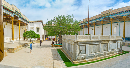 baha: BUKHARA, UZBEKISTAN - APRIL 29, 2015: The Sheikh Naqshband Mausoleum is the part of the Memorial Complex of Khoja Bakhouddin Naqshbandi, one of the most important Muslim shrines, on April 29 in Bukhara.
