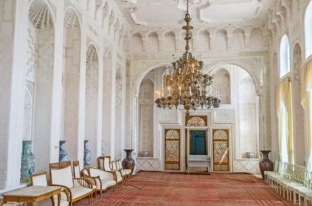 receptions: BUKHARA, UZBEKISTAN - APRIL 29, 2015: The white Hall for state receptions of Sitorai Mokhi-Khosa Palace, decorated with the tracery fretwork on ganch, on April 29 in Bukhara. Editorial
