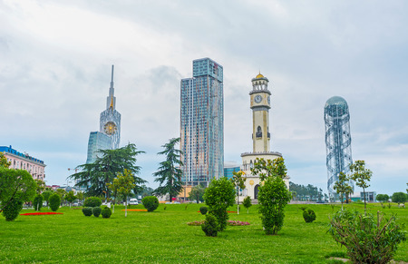 The Black Sea resort actively develops its infrastructure, including modern hotels construction, landscaping of gardens and parks, Batumi, Georgia. Stock Photo