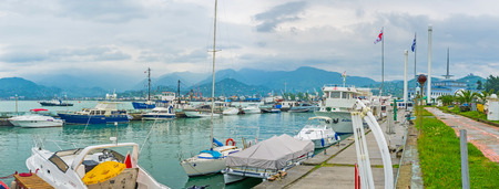 all weather: BATUMI, GEORGIA - MAY 24, 2016: All the pleasure boats are in port during the rainy weather, on May 24 in Batumi.