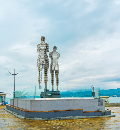 ali: BATUMI, GEORGIA - MAY 24, 2016: The kinetic statues of two book heroes - Ali and Nino, depict there love story - move towards each other and pass through one another, on May 24 in Batumi.