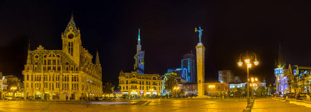 argonaut: Panorama of the Europe Square with its main landmarks in bright illumination, Batumi, Georgia.