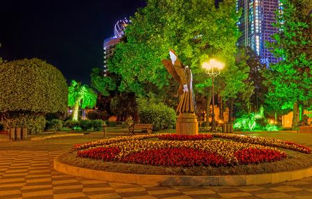 romantic places: The Batumi Boulevard is one of the best and most romantic places to spend the evening, Georgia. Stock Photo