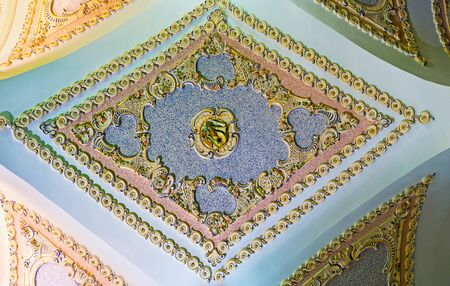 fretwork: BATUMI, GEORGIA - MAY 24, 2016: The painted fretwork on the archs ceiling in Piazza Square, occupied by the modern hotel complex, on May 24 in Batumi.