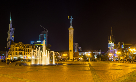 argonaut: BATUMI, GEORGIA - MAY 25, 2016: The bright fountain revives the evening Europe Square and brings the holiday atmosphere to its architectural ensemble, on May 25 in Batumi, Georgia.