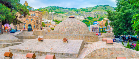 hamam: TBILISI, GEORGIA - MAY 28, 2016: The  oldest city neighborhood of Abanotubani, located next to Sololaki hill, is famous for the sulfur baths, on May 28 in Tbilisi.