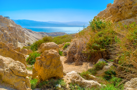 judean desert: The rocky landscape of Judean desert in Ein Gedi oasis with the bright blue waters of the Dead Sea and Jordanian mountains on the background, Israel. Stock Photo